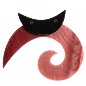 broche chat spirale ronde rose buvard