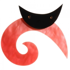 broche chat spirale ronde rose nacré