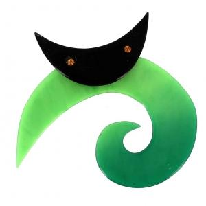 broche chat spirale ronde vert vif