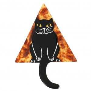 broche chat stoico noir