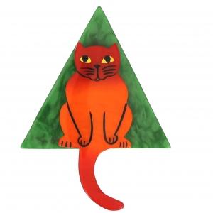 broche chat stoico orange