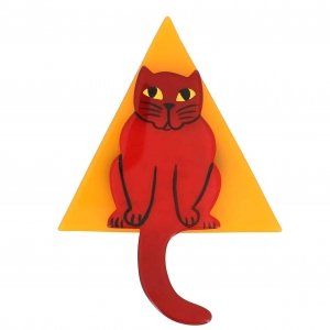 broche chat stoico rouge