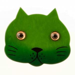 broche chat tete vert