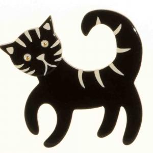 broche chat tigron noir