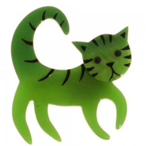 broche chat tigron vert