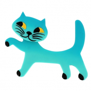broche chat titi turquoise clair