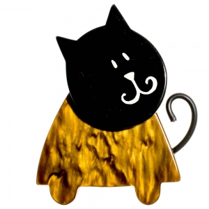 broche chat triangle or et noir