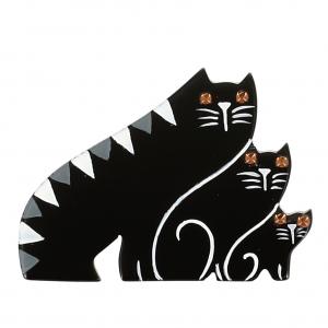 broche chat trio chats noir blanc