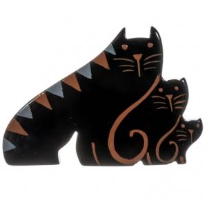 broche chat trio chats noir et roux