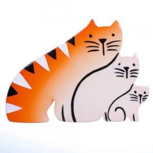 broche chat trio roux
