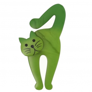 broche chat violon vert clair