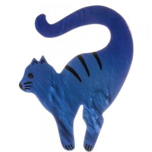broche chat violoncelle bleu