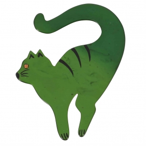 broche chat violoncelle vert