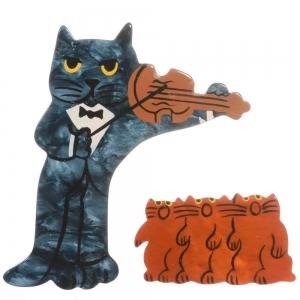 broche chat violoniste bleu acier