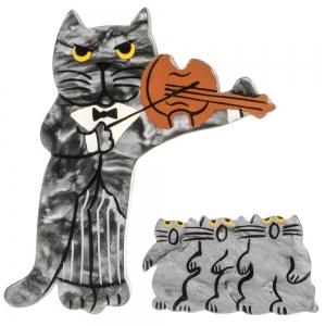 broche chat violoniste gris choeur gris