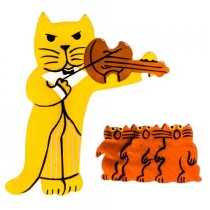 broche chat violoniste jaune