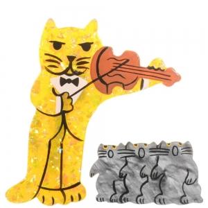 broche chat violoniste jaune brillant