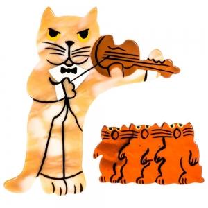 broche chat violoniste marbre jaune