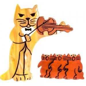 broche chat violoniste nacre paille