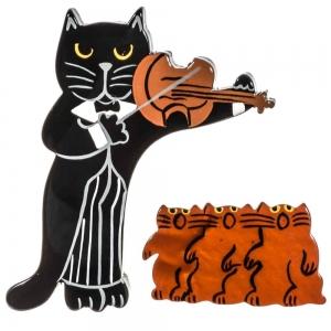 Chat violoniste et chœur chats
