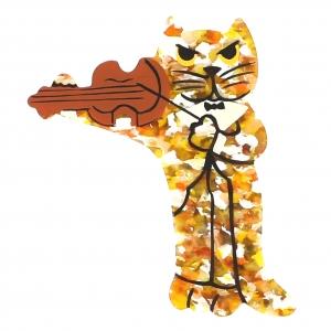 broche chat violoniste pailleté jaune