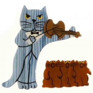 broche chat violoniste rayures bleu ciel et choeur roux