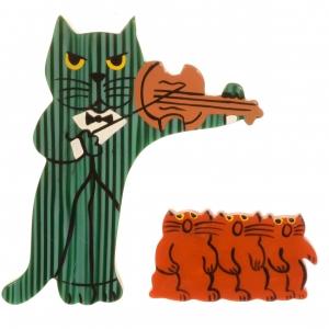 broche chat violoniste rayures vert