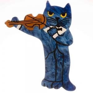 broche chat violoniste rouge irisé