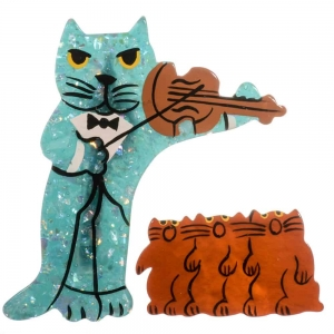 broche chat violoniste turquoise brillant