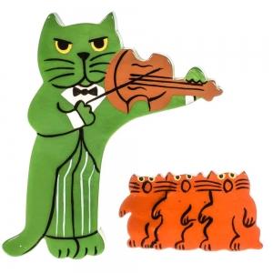 broche chat violoniste vert