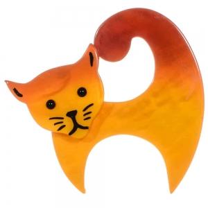 broche chat virgule jaune