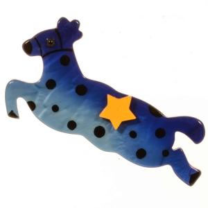 broche cheval etoile bleu