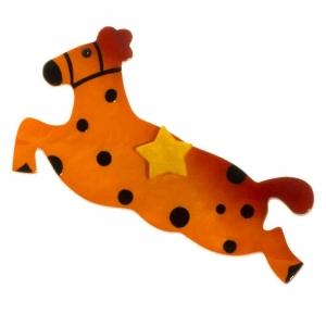 broche cheval etoile orange