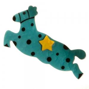 broche cheval etoile turquoise