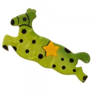 broche cheval etoile vert