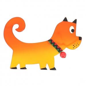 broche chien Grelot jaune