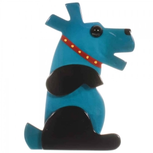 broche chien Vaco turquoise