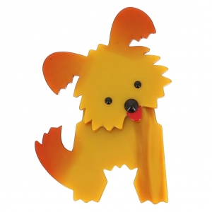 broche chien bobby ocre