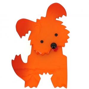broche chien bobby orange