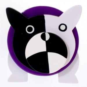 broche chien bouledogue violet 1