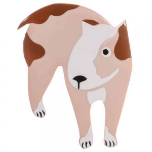 broche chien bull terrier beige