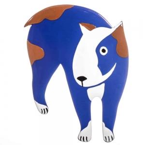 broche chien bull terrier bleu