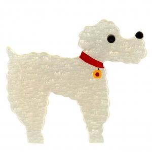 broche chien caniche blanc bulles