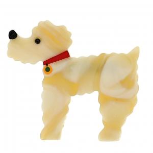 broche chien caniche creme