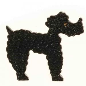 broche chien caniche noir relief