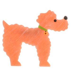 broche chien caniche rose marbre
