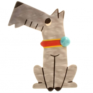 broche chien coquin gris