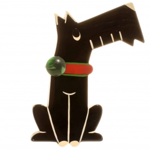 broche chien coquin noir
