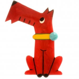 broche chien coquin rouge