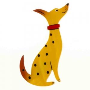 broche chien dalmatien jaune